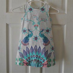 OshKosh Dress Girls 3t Sleeveless White Peacock